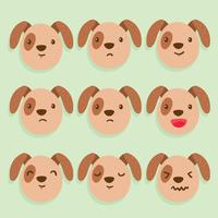 Brown Dog Emotions Vector