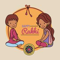 Brother, Sister And The Rakhi Bracelet vector