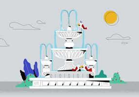 Classic White Roman Fountain Vector Flat Background Illustration