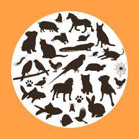 16 Haustier-Vektor-Schattenbilder