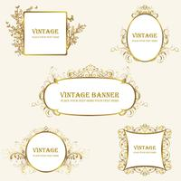 greek and vintage frames gold vector