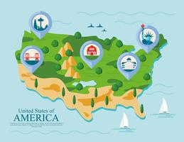 United States Landmark Map Vector