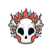 Vecteur de crâne flamboyant