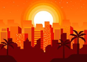 Paisaje urbano en Sunset Vector Illustration