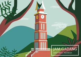 Indonesia Pride Building (Jam Gadang) Vector Design
