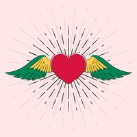 Coeur de tatouage avec ailes Old School Retro Vector Illustration