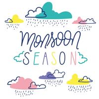 Moonson Season Illustration With Colorful Clouds