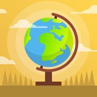 Flat Globe med platt bakgrund Vector Illustration