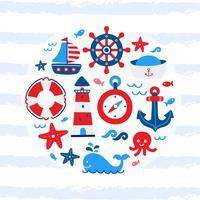 Niedliche nautische Cartoon-Elemente