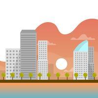 Tramonto piano urbano di paesaggio con l'illustrazione di vettore del fondo di pendenza