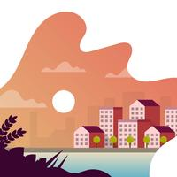 Flat Cityscape Sunset with gradient background vector illustration