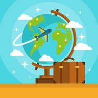 Globe With Airplane and Suitcase Vector