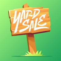 Wooden Board Yard Sale Sign Vector