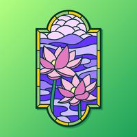 Lotus-stained-glass-window-vector