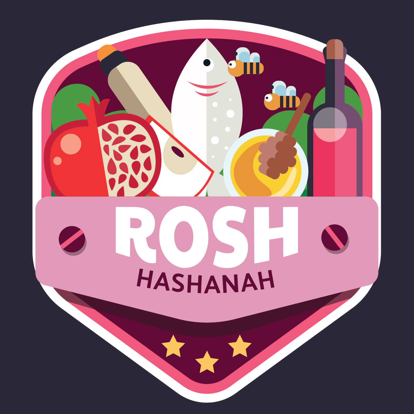 Rosh Hashanah Badge Vector Design Tlchargez De Lart Des
