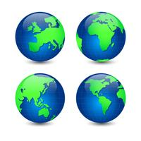 Vector Set Of Globe Earth