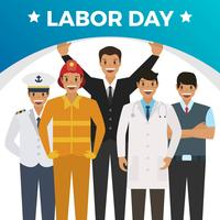 Flat Celebrate Labor Day With Gradient Background Vector Illustration