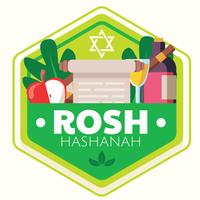 Rosj Hasjana badge vector ontwerp