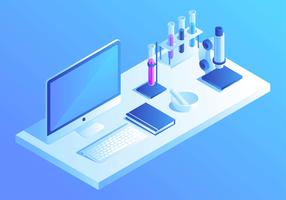 Isometric Lab Desk Vector
