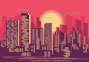 Cityscape at Sunset Illustration