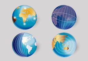 3D Realistic World Globe Vector Illustration