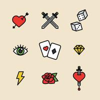 Gegliederten Tattoo Icons