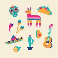 Elementos mexicanos geométricos e coloridos