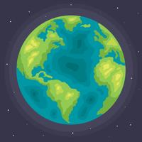 Flat Globe On Dark Blue Vector