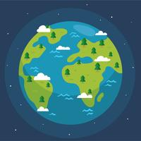 Globe With Tree And Cloud Vector