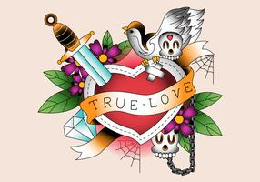 Decorative Retro Heart True Love Tattoo Vector Illustration