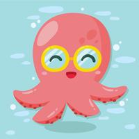 Cute Glasses Octopus Vector