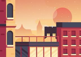 diseño de vector de puesta de sol de ciudad scape