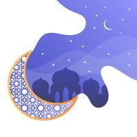 Saudações de ano novo islâmico minimalista com ilustração em vetor gradiente padrão fundo