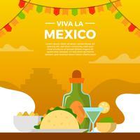 Flat Viva La Mexico Taco y Tequilla con gradiente de fondo Vector Illustration