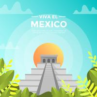 Flat Viva La Mexico Chichen Itza With Gradient Background Vector Illustration
