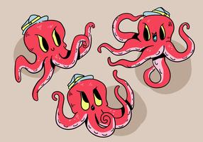 Funny Cartoon Red Octopus Character Pose Vector Illustration