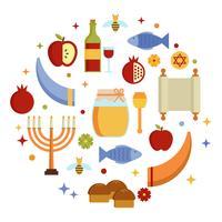 Rosh Hashanah Jewish Elements Vector