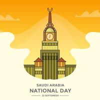 Flat Saudi Arabia National Day With Gradient background Vector Illustration