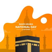 Flat Saudiarabien National Day With Gradient Background Vector Illustration