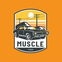 muscle car badge vector