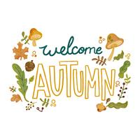 Cute Autumn Elements As Leaves, Mushrooms And Branches With Lettering