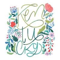 Watercolor  Flowers With Kentucky Lettering vector