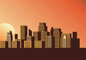 Stadtbild-Sonnenuntergang-Vektor-Illustration