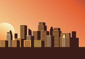 Cityscape zonsondergang vectorillustratie