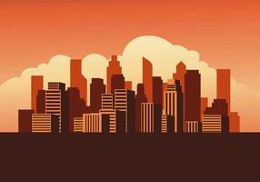 Ilustración de Vector de atardecer de paisaje urbano