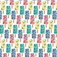 Vector Fruit Ice Cream Seamless Pattern
