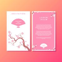 Sakura Japanese Style Invitation Template Vector