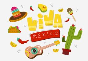 Typographic VIva Mexico Party Background Vector Illustration