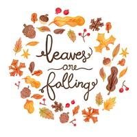 Cute Watercolor Autumn Elements Falling With Lettering