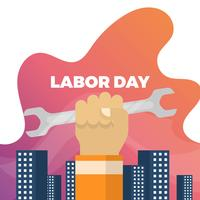 Flat Labor Day With Building Gradient Background